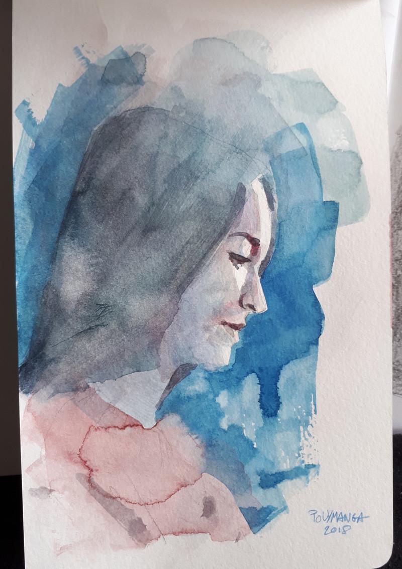 portrait of Clara. Watercolor