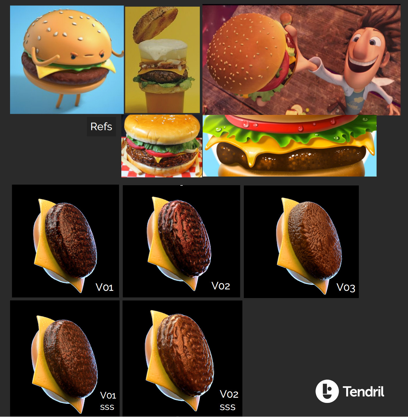 "Burger variations and some references. It must look between ""real"" and ""cartoon"" look. BTW : I know that the cheese should come on TOP of the meat. lol."