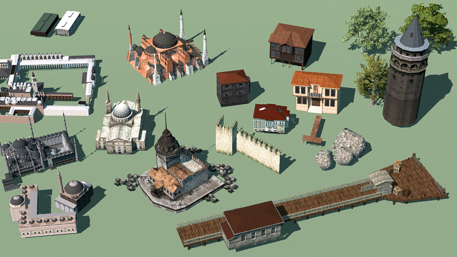 making 1919's Istanbul with very limited assets, although  creating  a varied look. 9 Landmark Buildings,  3 generic traditional Istanbul houses, city walls and tower, 3 rocks and 3 trees