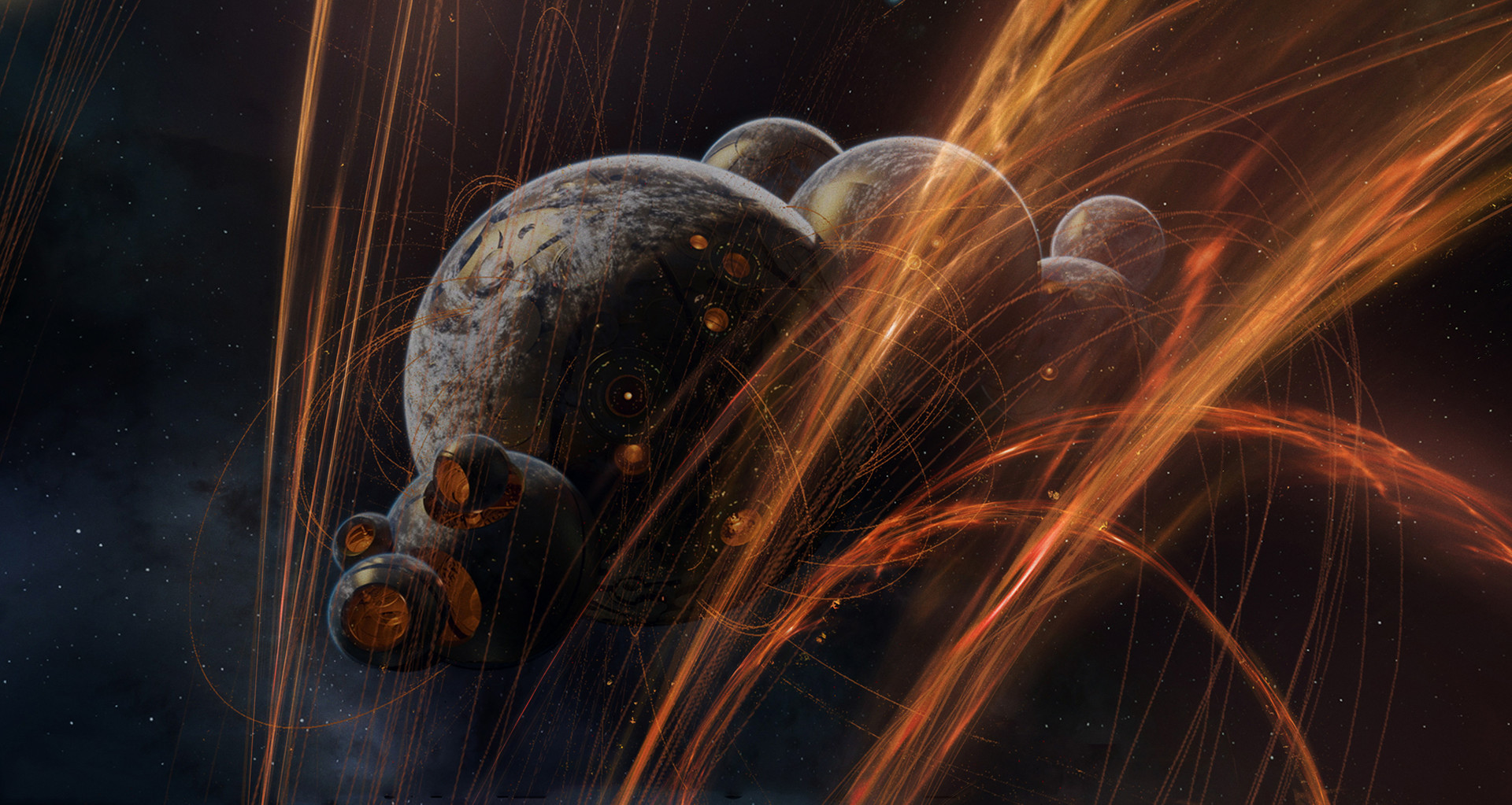 These orange streaks were added to help with parallax during the chase sequence. Planets were WIP by Framestore VFX team.