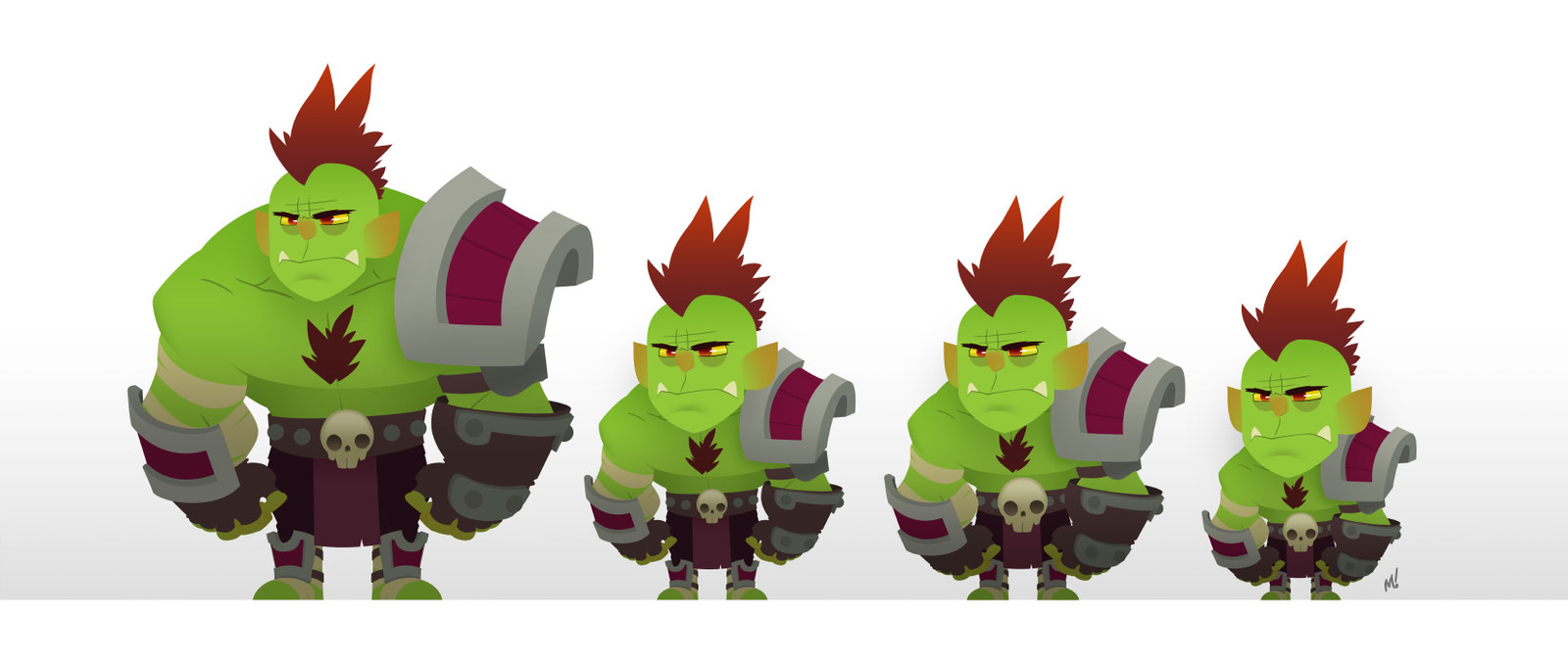 Simple colors applied to orc to quickly test head sizes.