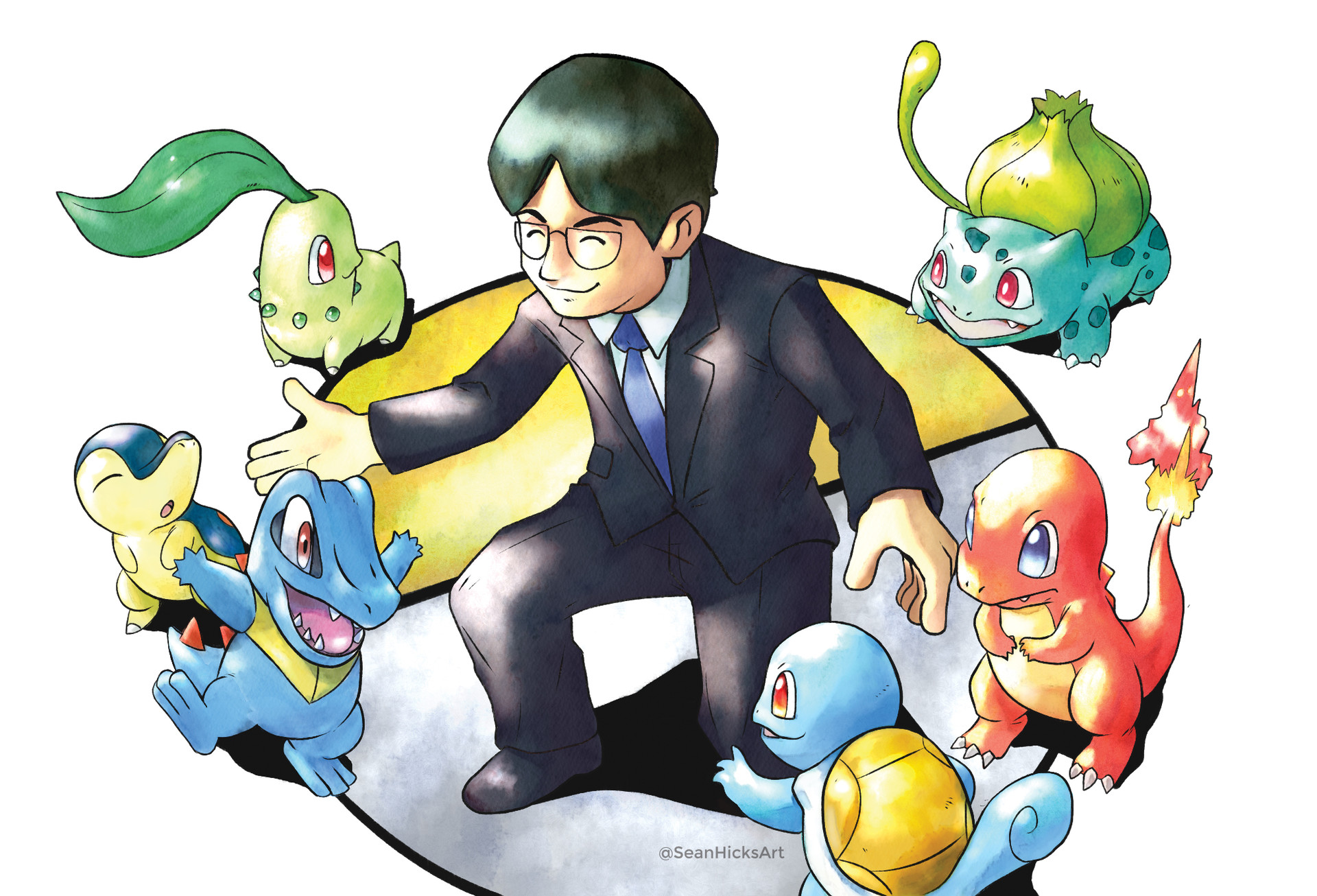 Iwata played a big role for Pokemon Gold & Silver by merging the regions from the past games into the new ones. I illustrated this task by having Iwata introduce the starter pokemon from the different regions to one another.