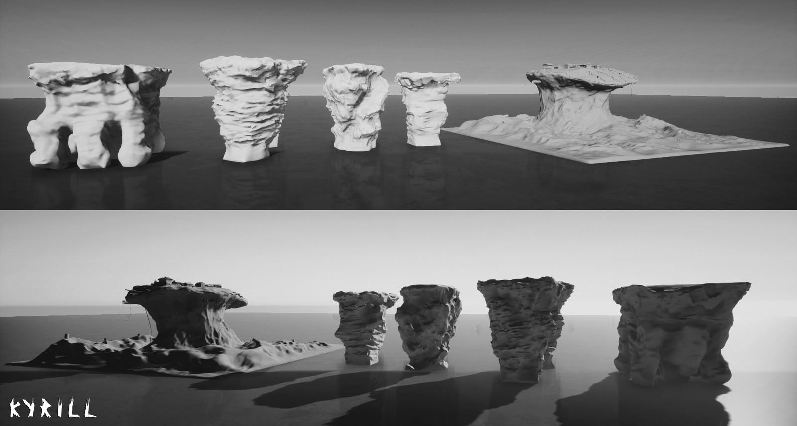 Rock models for the island set.