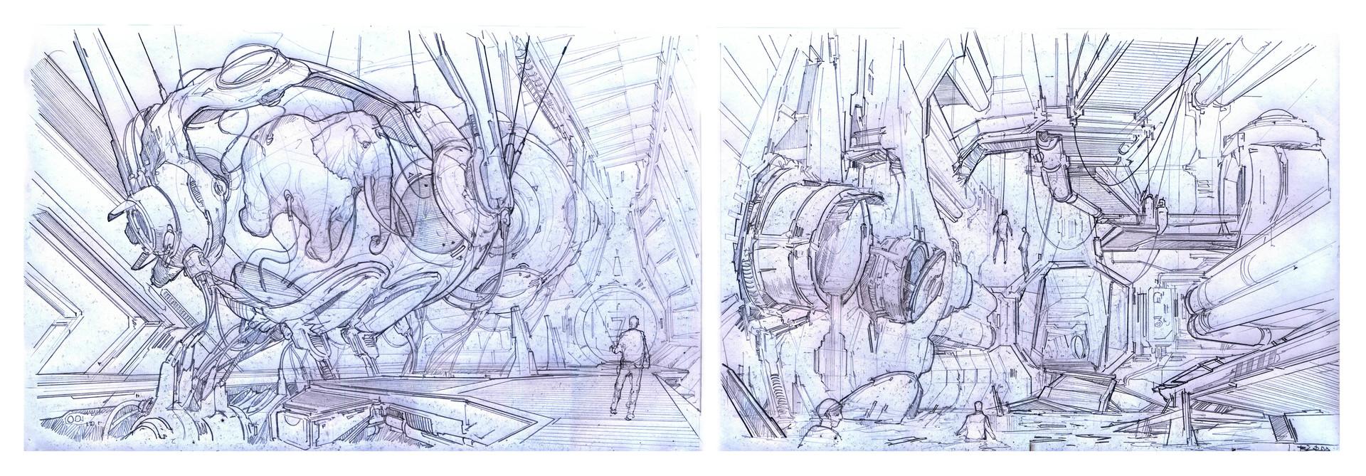 Alejandro burdisio bocetos exile area criogenia2 y varios