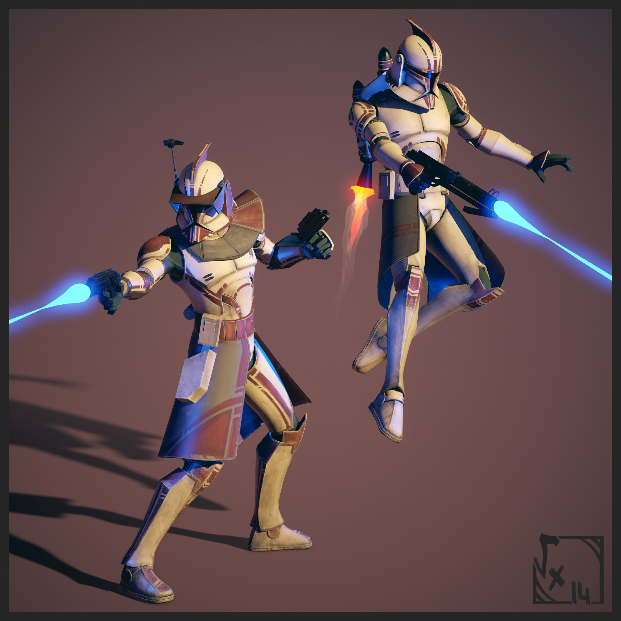 414th Clone Troopers   Made with 3dsMax/Maya, 3DCoat & Akeytsu for posing
