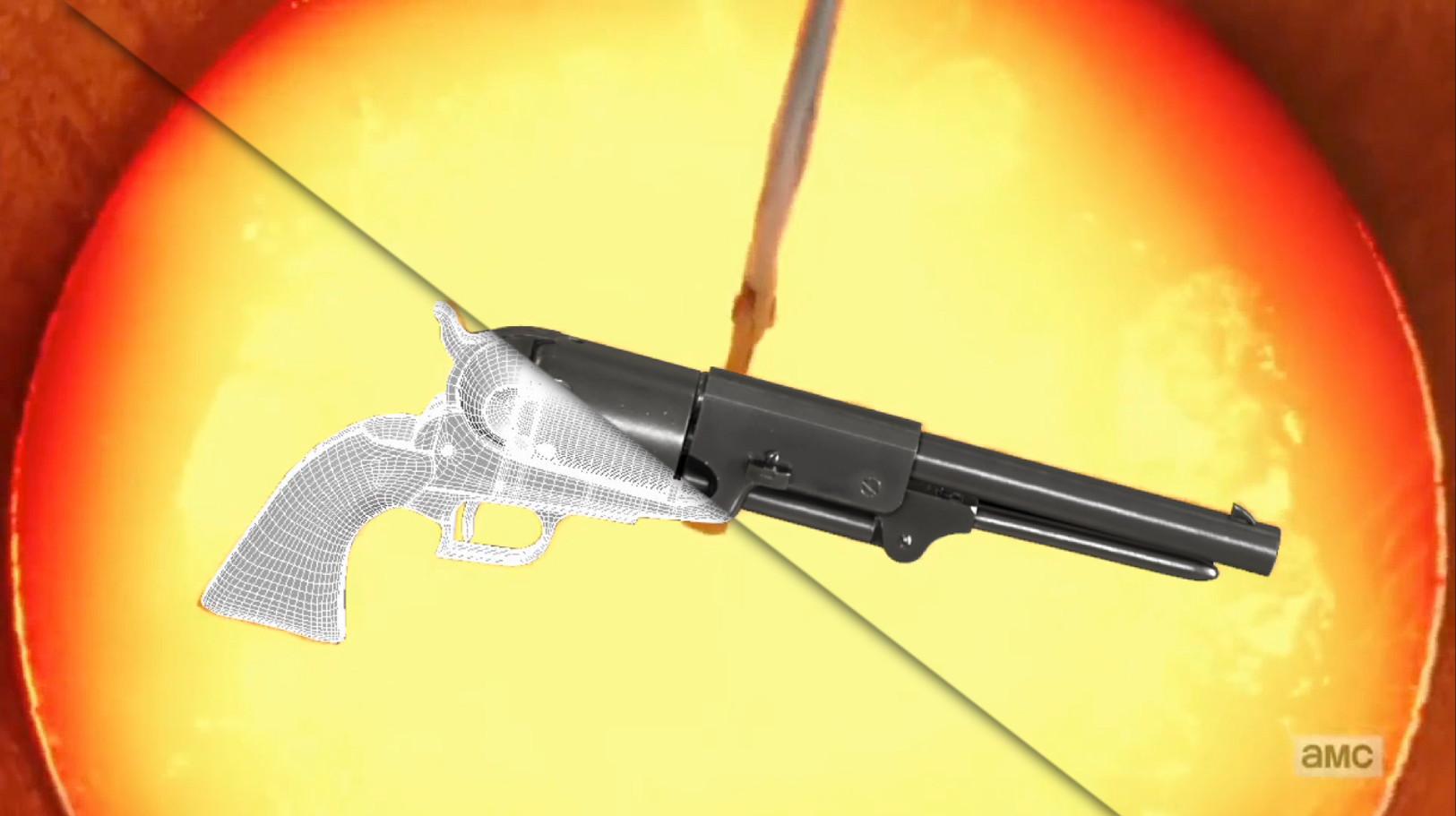 Colt revolver pistols, created for use in the molten metal scene.