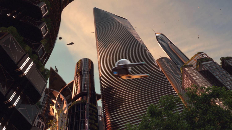 Commuter Pod flying through city.
