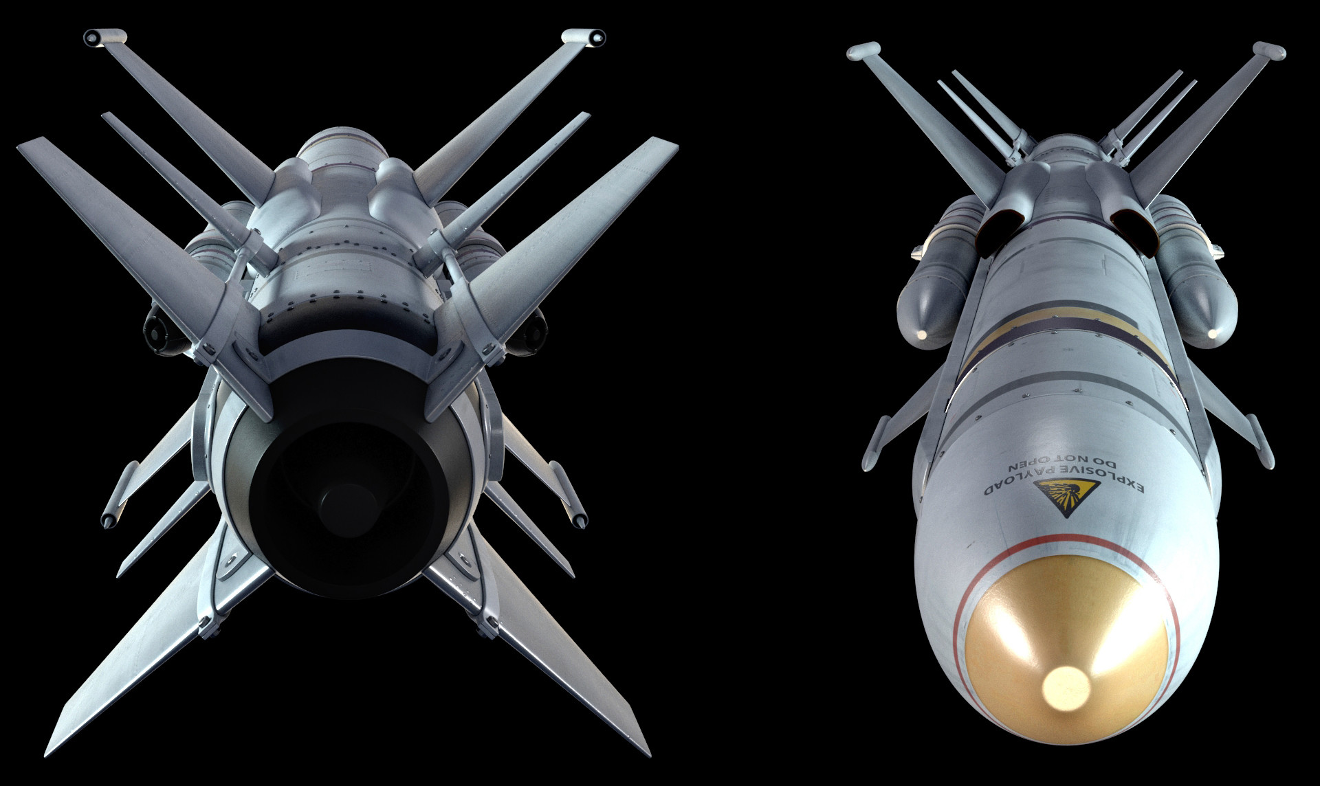 Back and front view.  Not an overly difficult or complex model, but it was a lot of fun to be able to make a quick rocket.