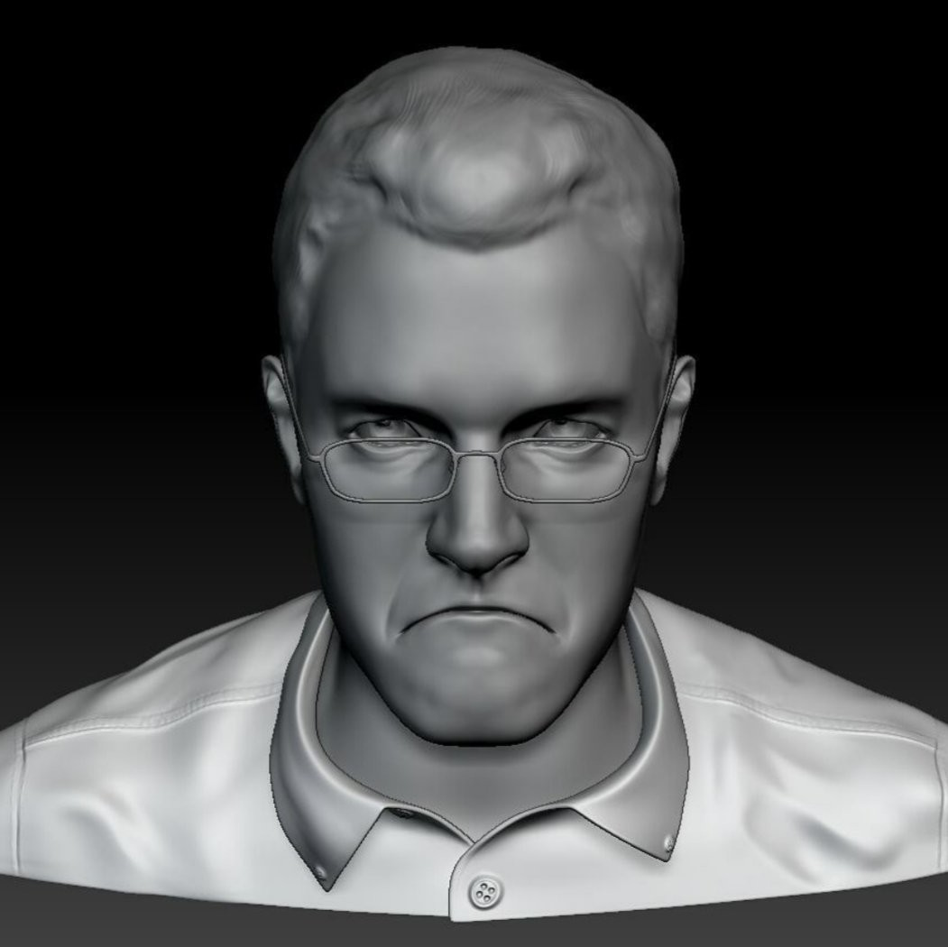 Quick sculpt of the Angry Video Game Nerd, aka James Rolfe.