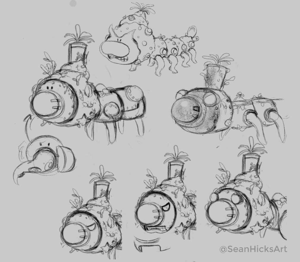 Brainstorming sketches of the crossover boss's design. I used a Wiggler from the Mario series as a base- then designed around that to fit within the Splatoon world.
