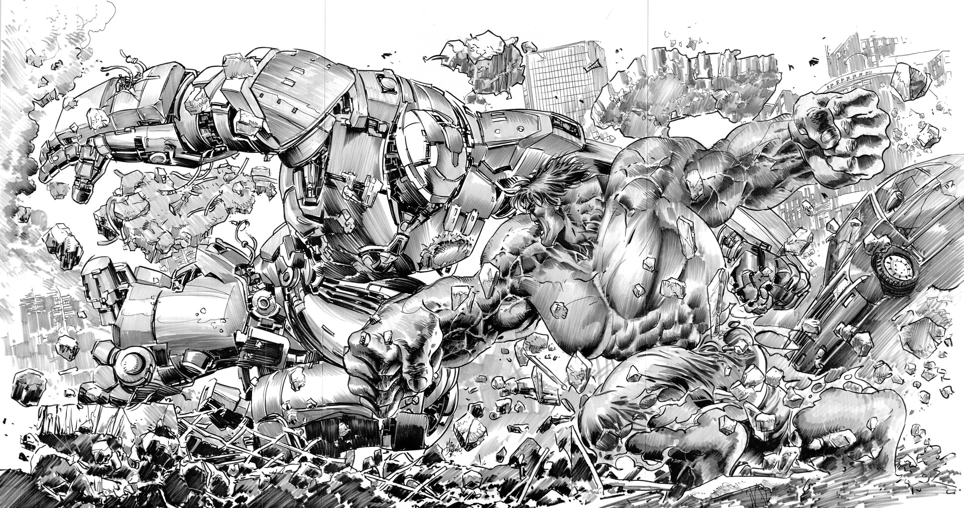 Line art and Inks. by Mike deodato.
