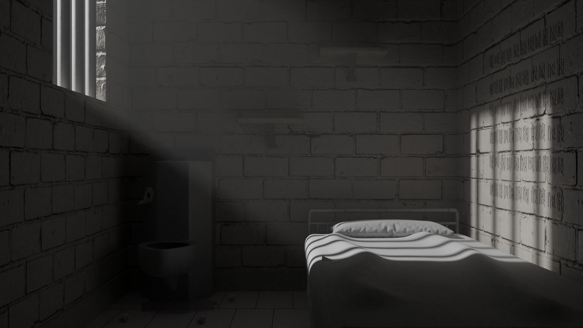artstation prison cell volumetric lighting test karl robert