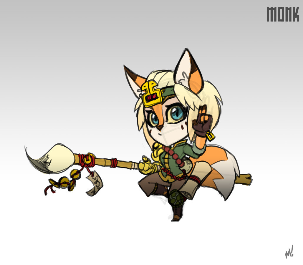 Cute fox monk.