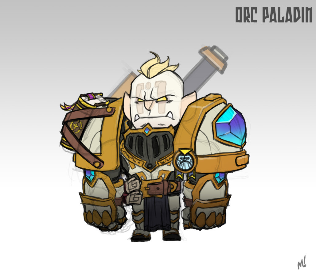 """I wanted to try this """"Holy Orc"""" idea where he's outcast by standard orc clans and kinda feared by his paladin comrades."""