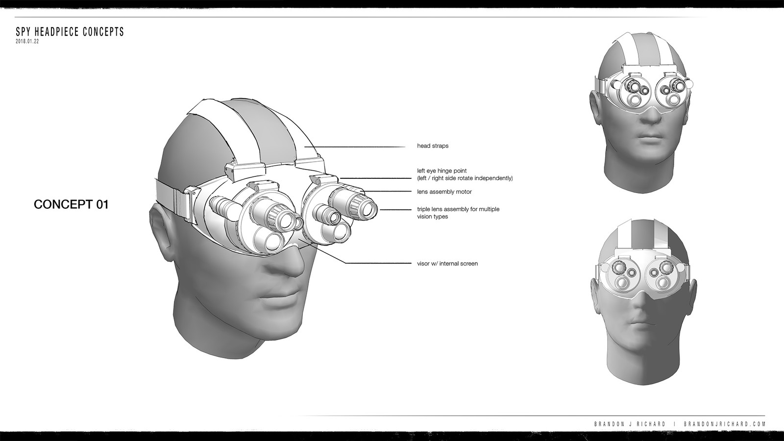 Concept board of the approved headpiece, with alternate views.