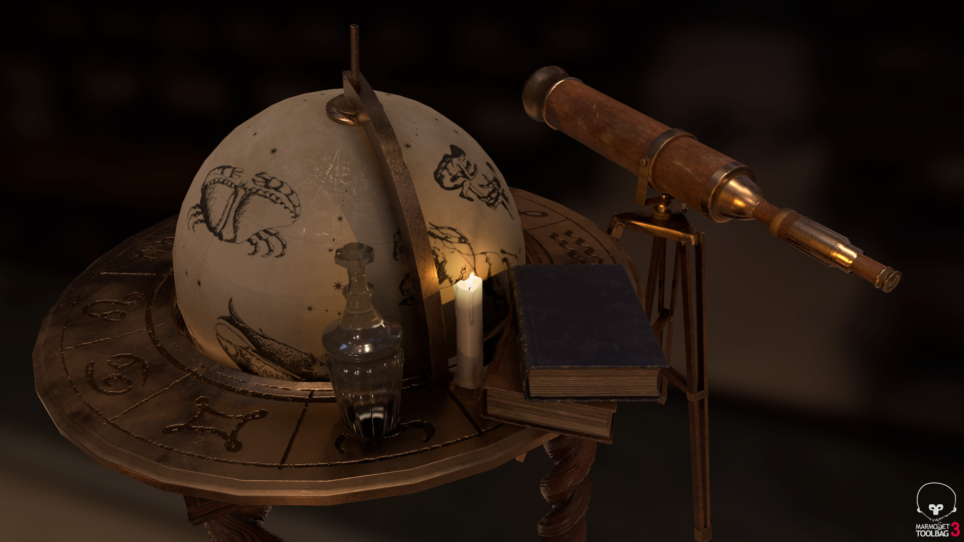 Selection of props rendered in Marmoset Toolbag