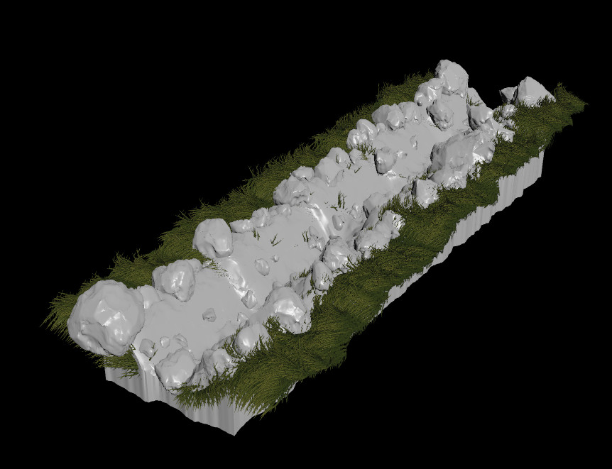 Procedural Modelling: Riverbed with grass