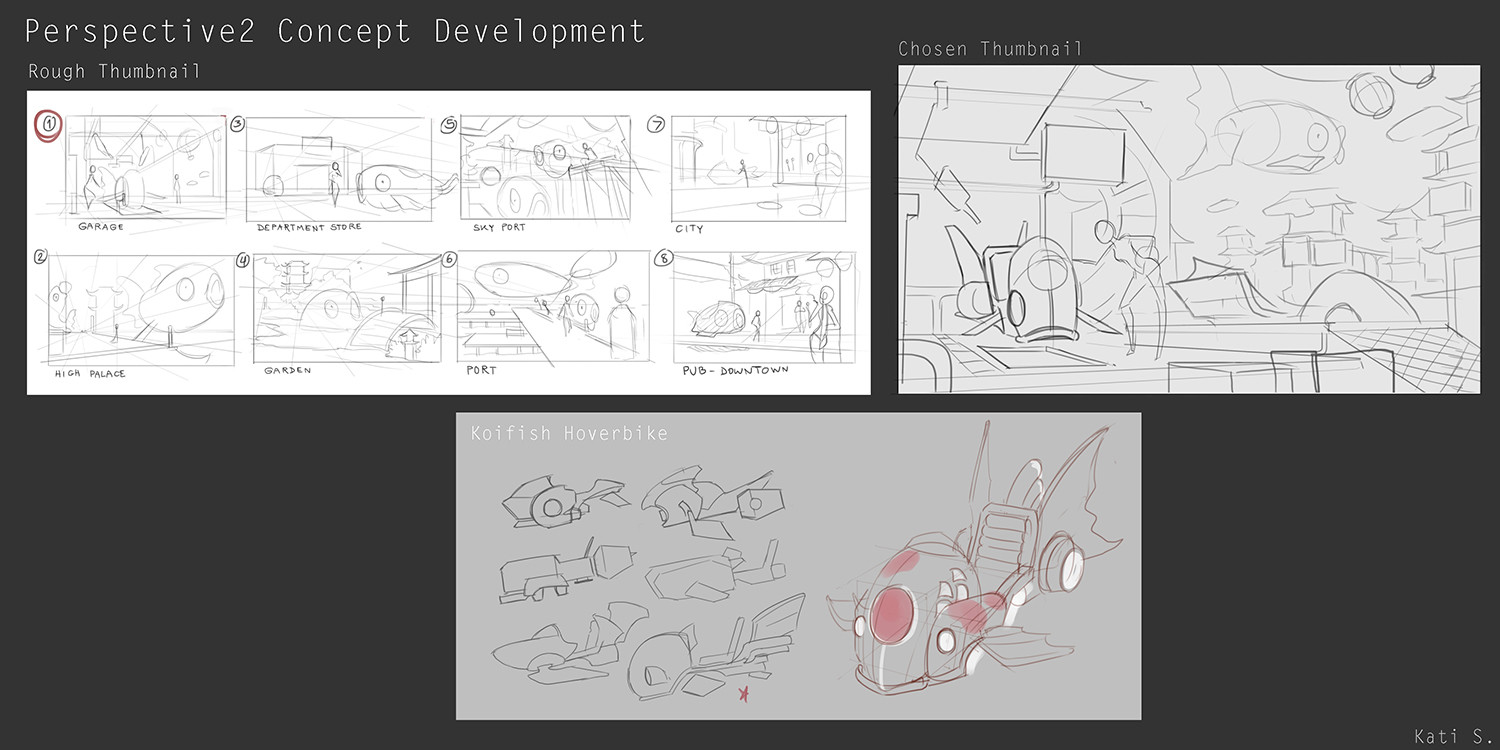 Rough thumbnail and sketches