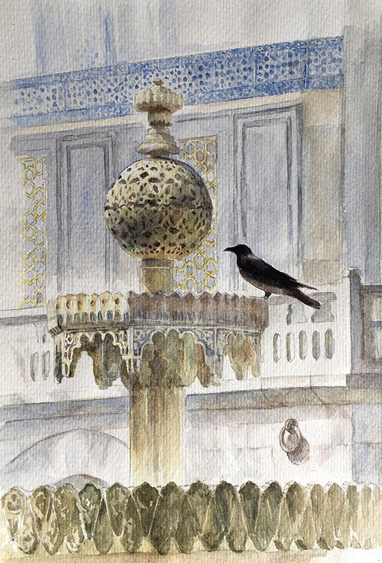 Robert baird topkapi palace fountain crows 2 watercolour