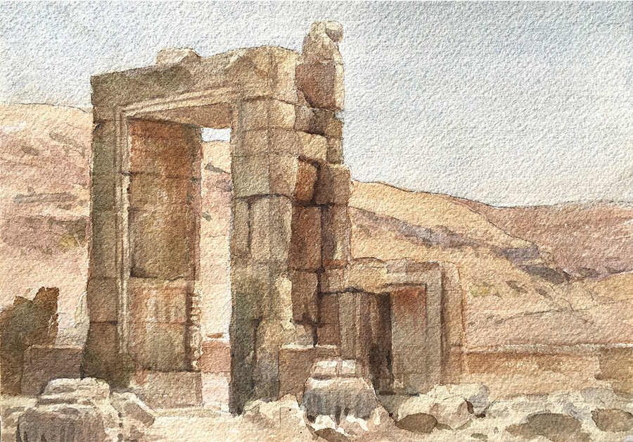 Robert baird ruins of persepolis watercolour