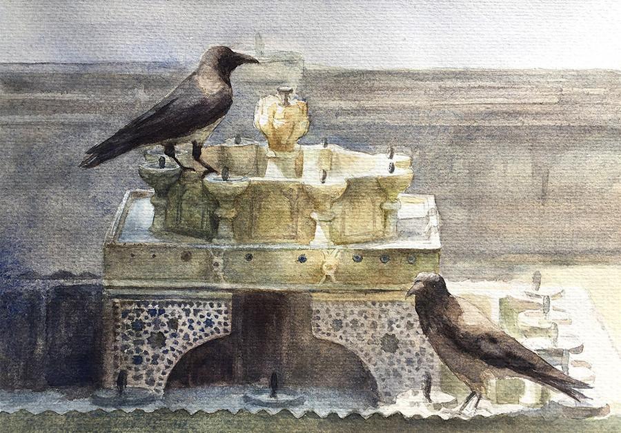 Robert baird topkapi palace fountain crows 1 watercolour