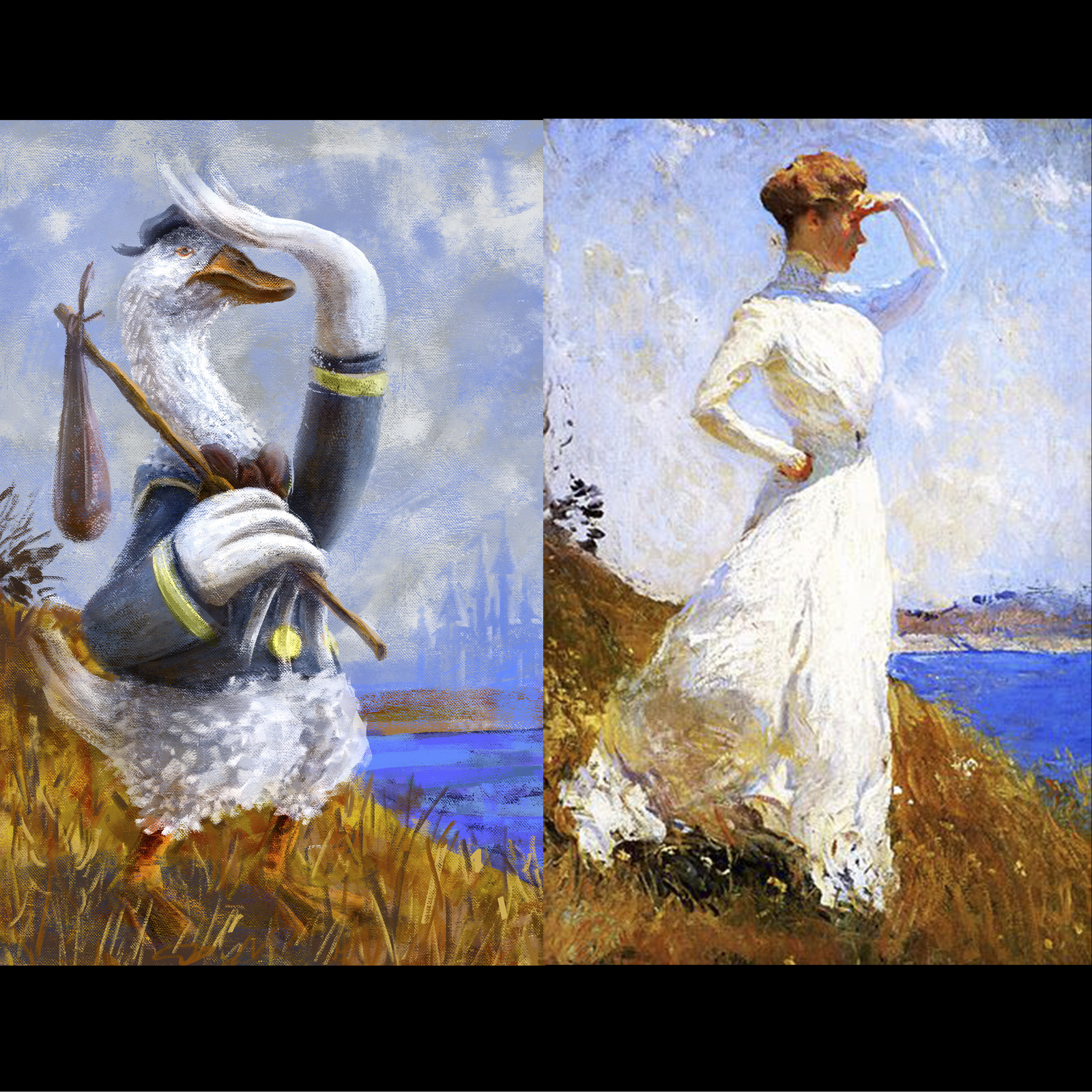 "Part of the my series ""Pop Goes Classic"" , this one is a homage to Frank Weston Benson - Summer, portrait of countess Rita de Candia, 1909"
