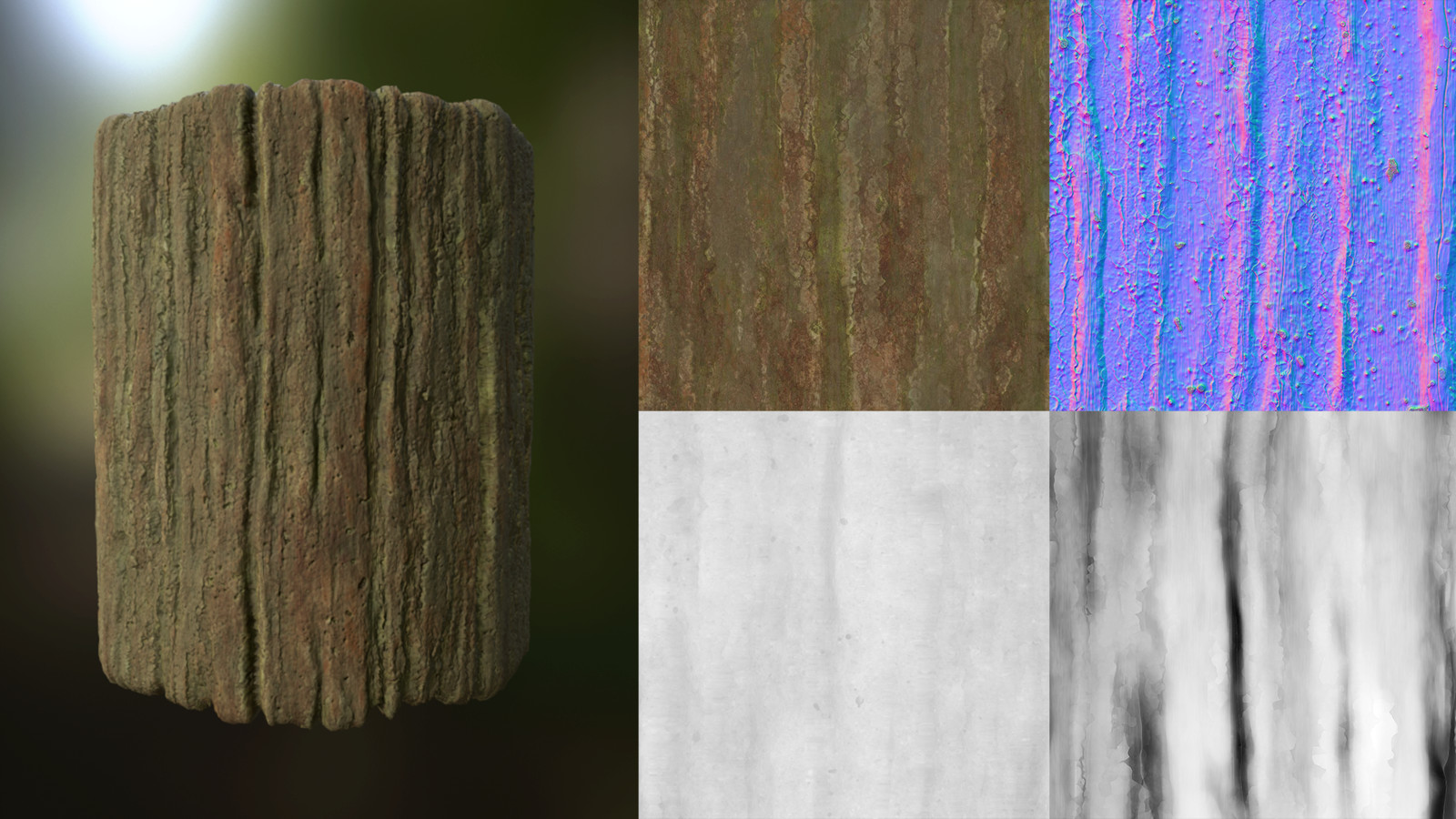 Bark material created in Substance Designer. Albedo, normal, roughness, height