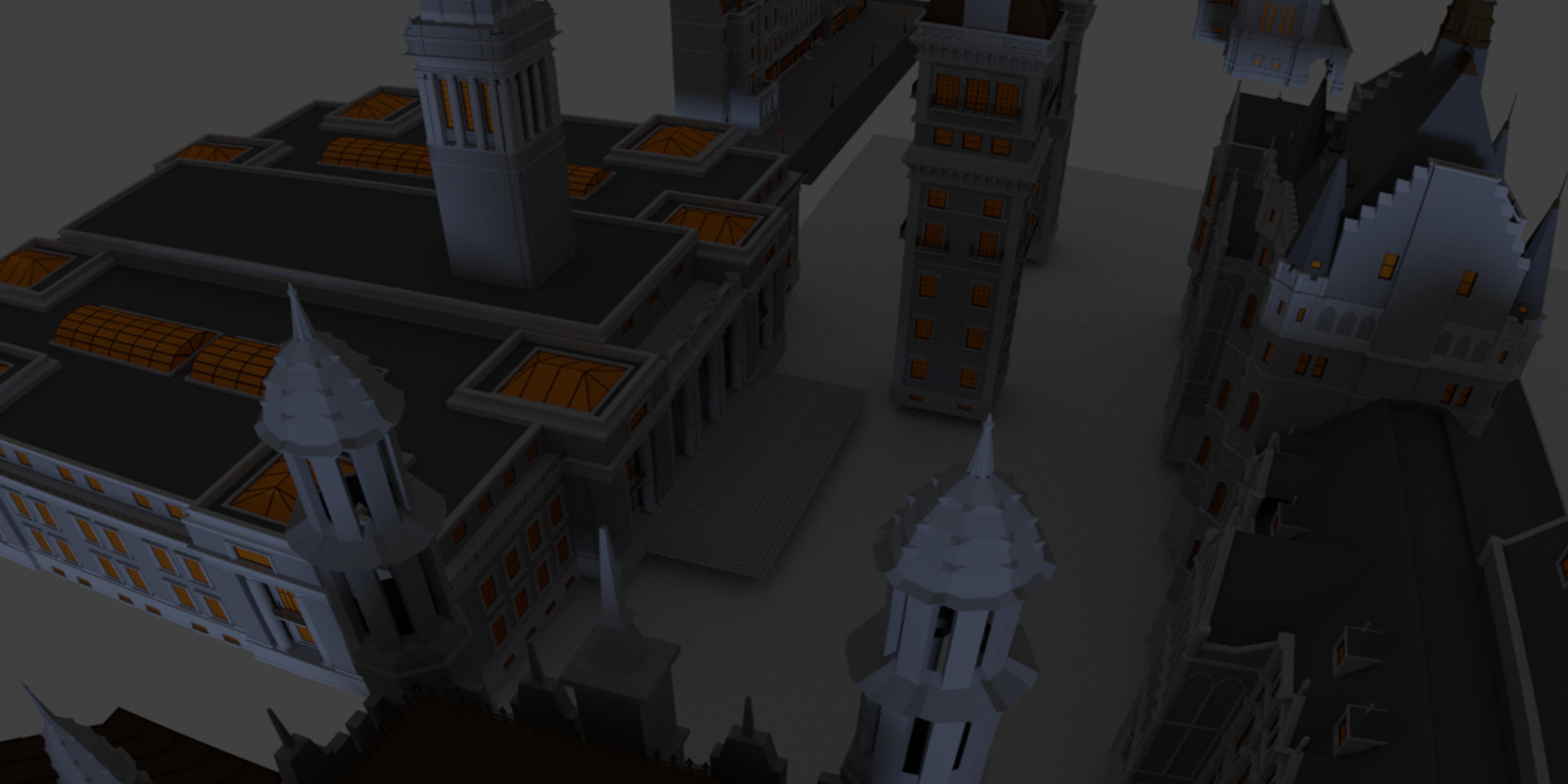 3D models I organised and lit in Blender.