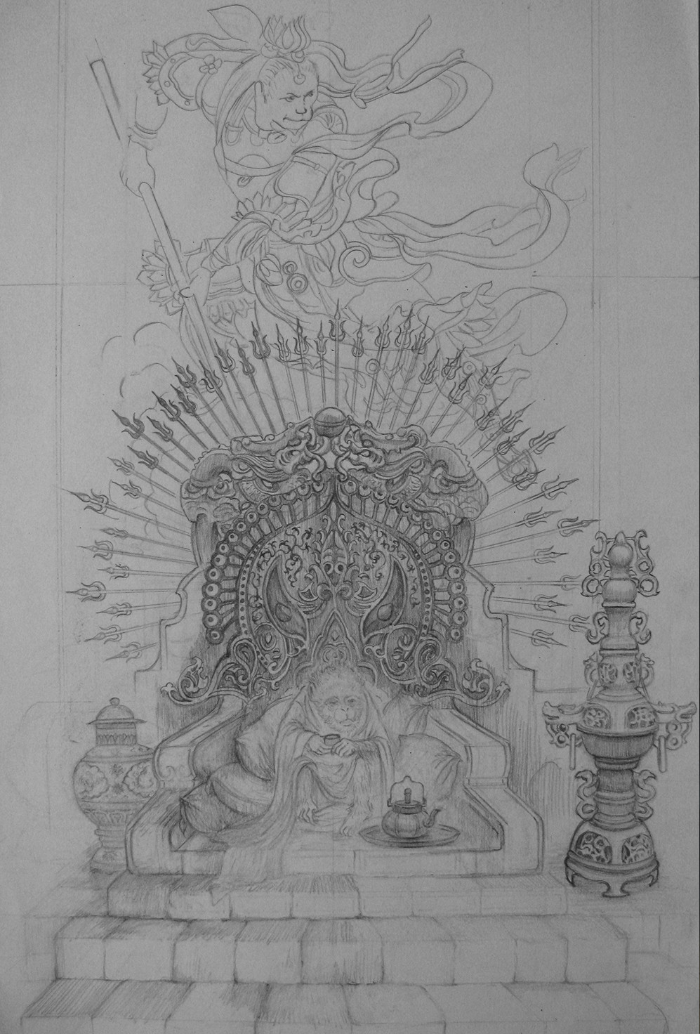 The initial idea pencil sketch