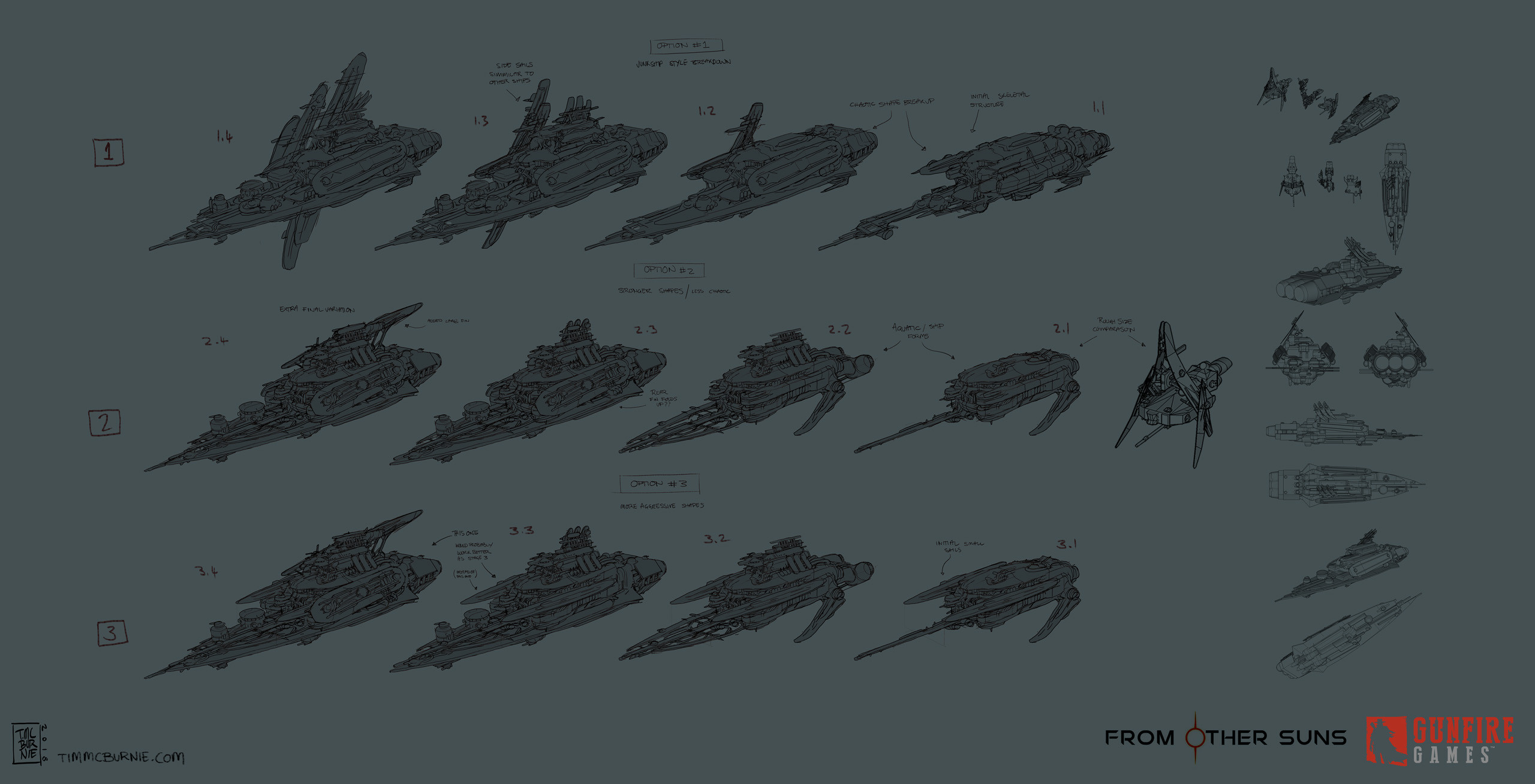 Pirate Battleship Sketches (exploring how different variants might break down)