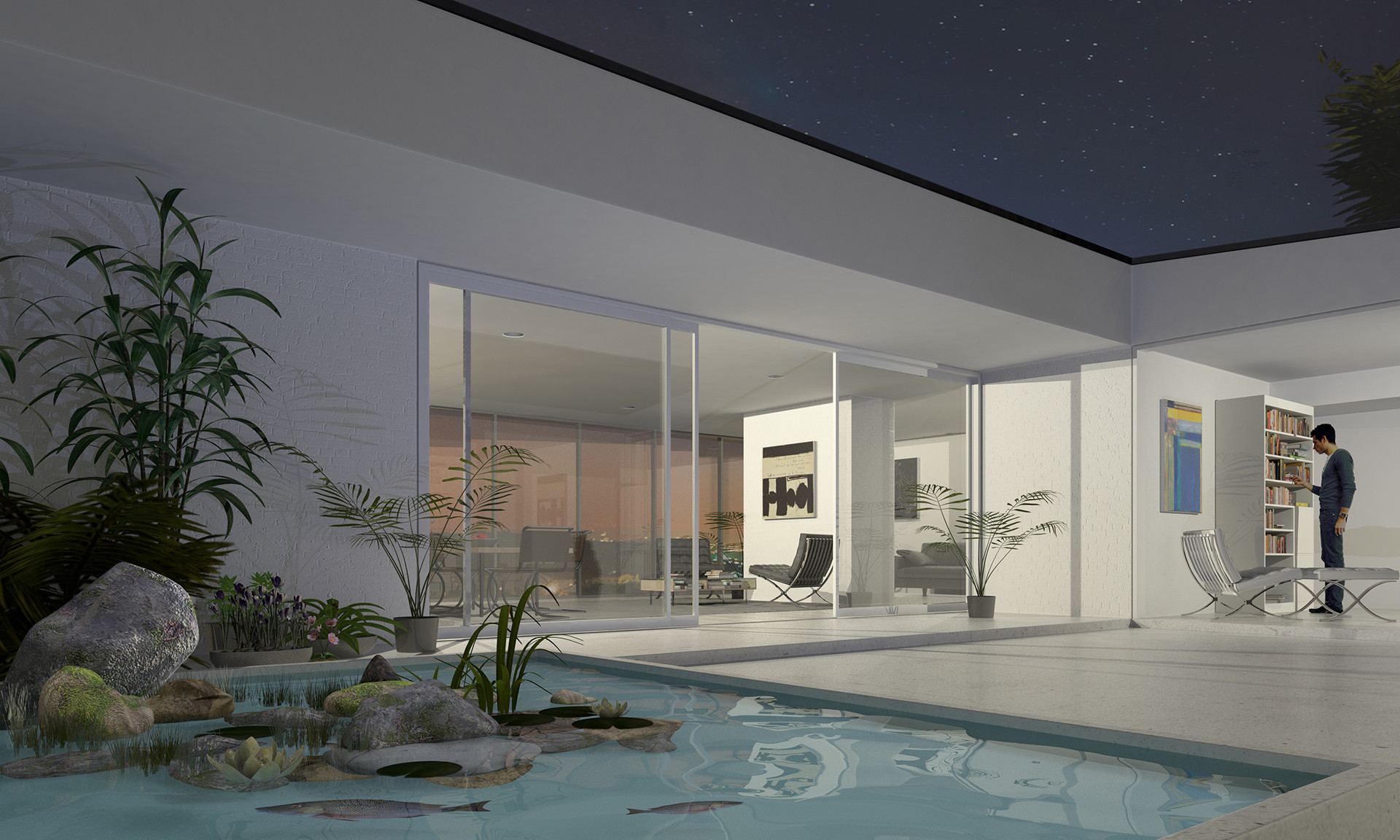 Architectural Visualization of a house designed by Dan Clark of MAD in 2017.