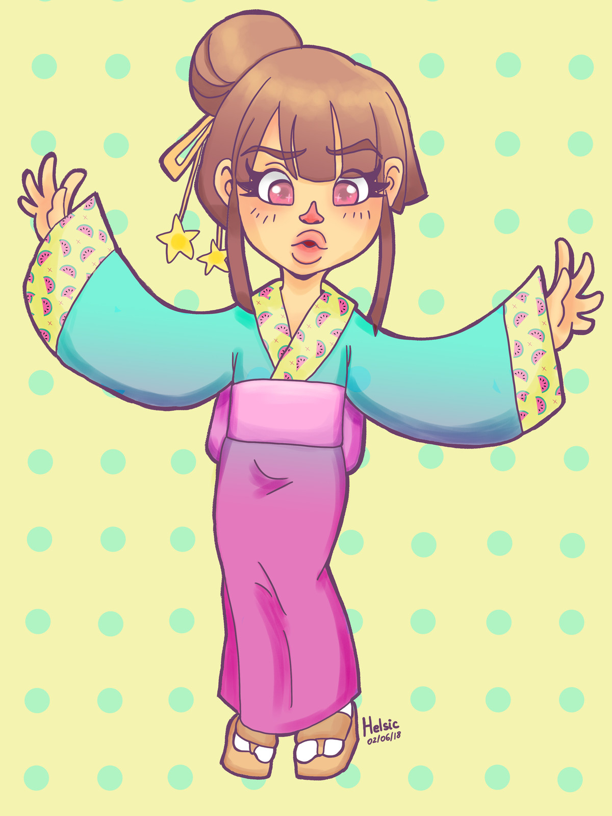I wanted to draw something extremely cute, girly and using pastel hues of pink and blue, so this adorable Aiko wearing a kimono is the result ^^