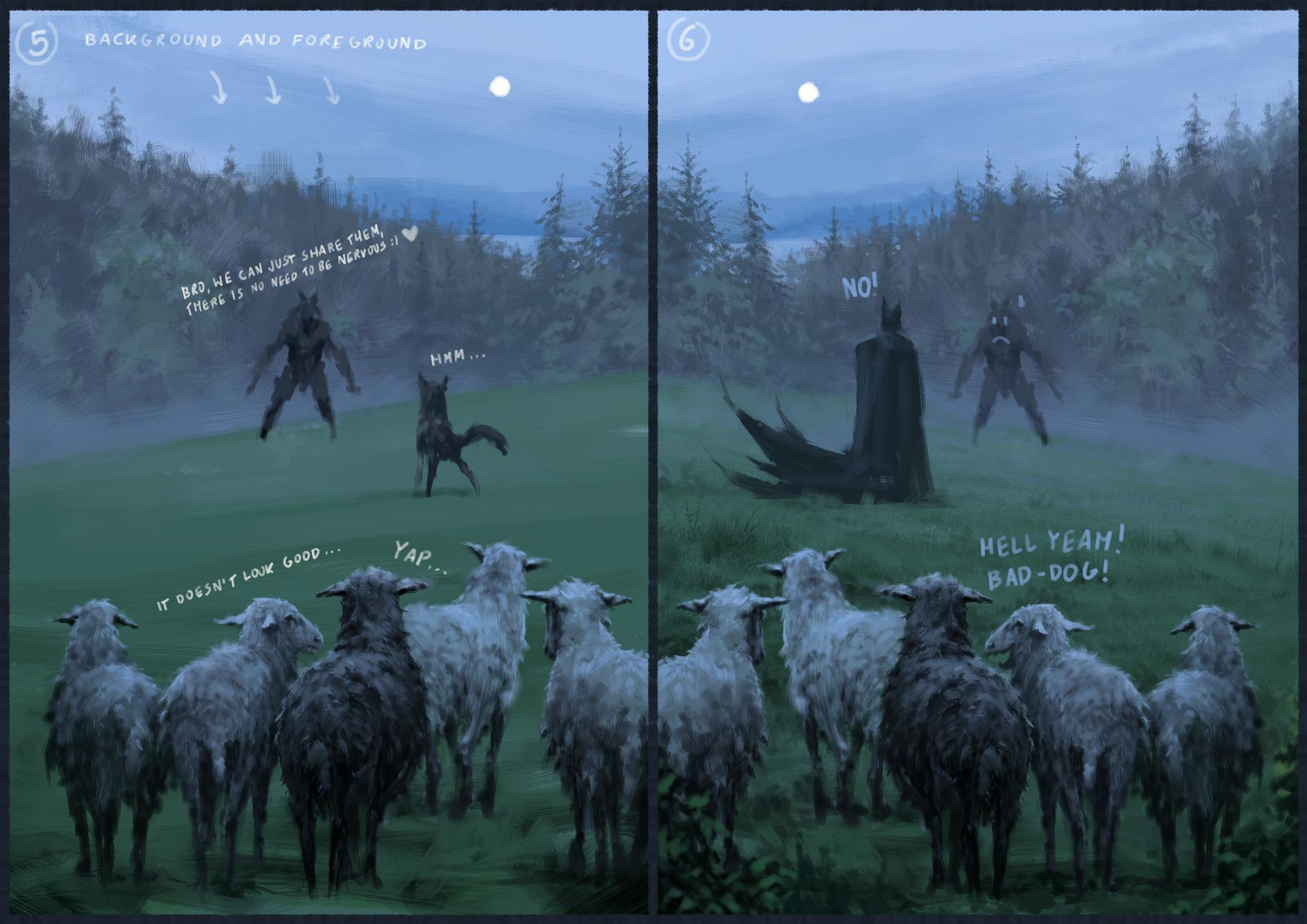 Jakub rozalski wilk syty owca cala process03