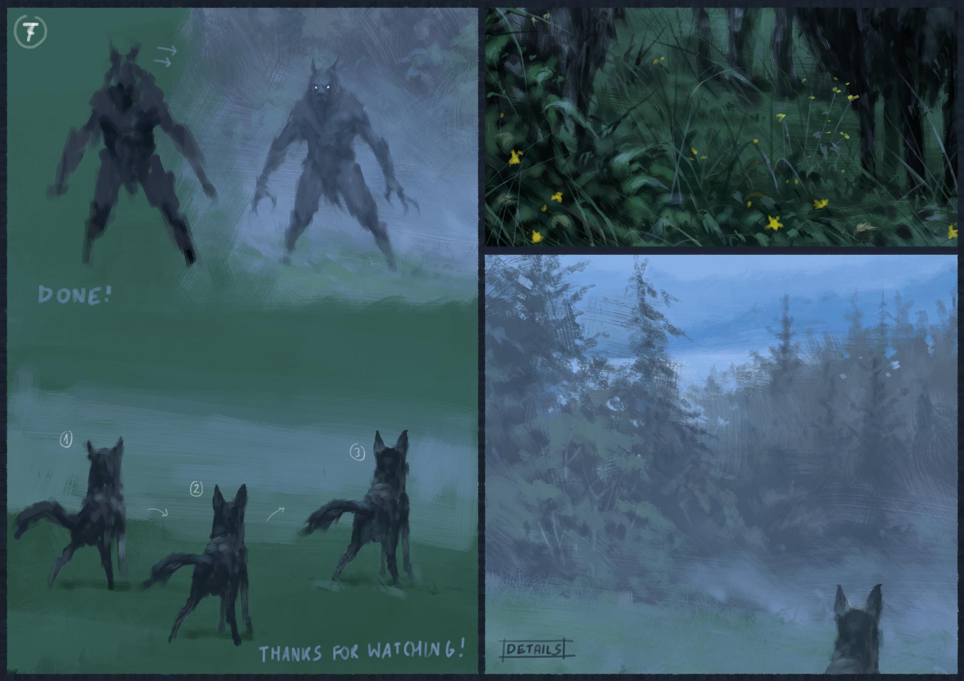 Jakub rozalski wilk syty owca cala process04