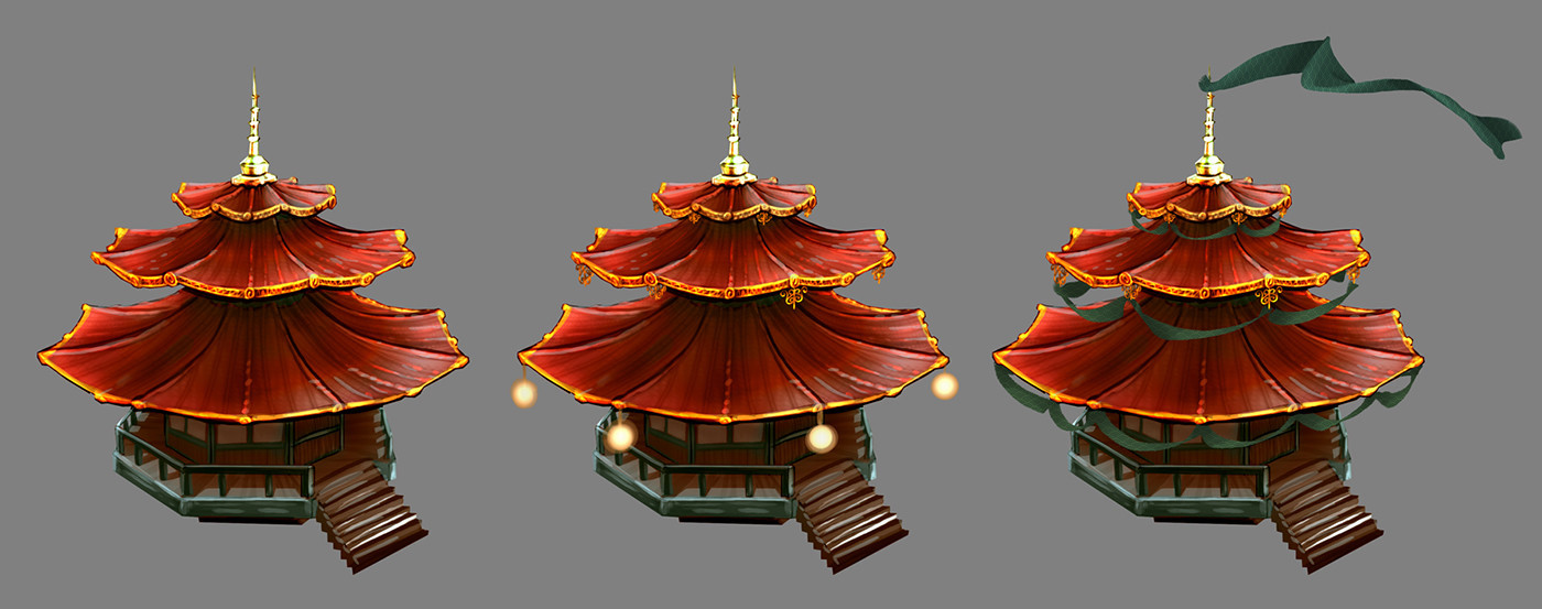 Concepts I did for some other Japanese-style buildings for our Japan level