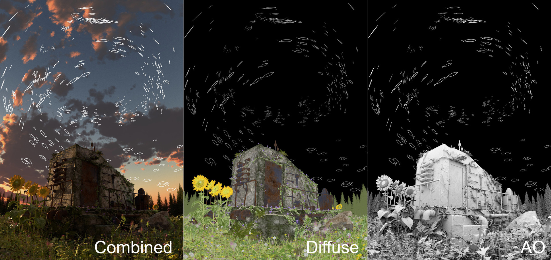 A few of the compositing layers used for this particular image. There were a couple more that I used.