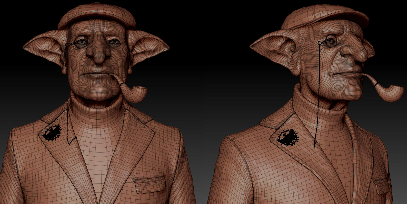Darko mitev clay wireframe zbrush