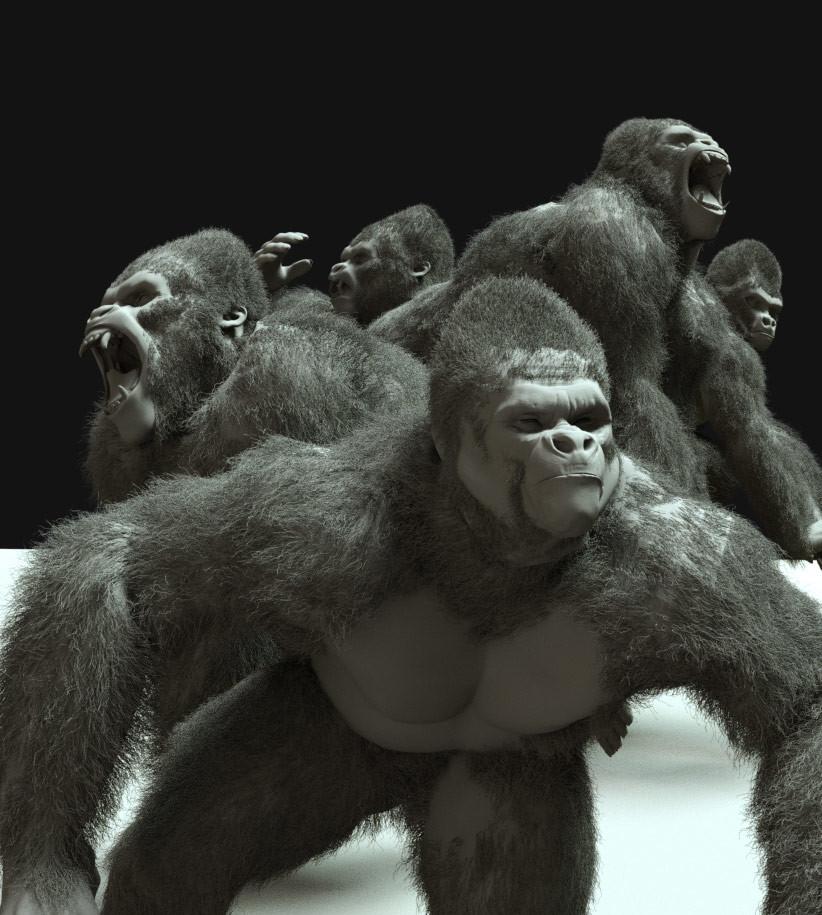 Clay render apes