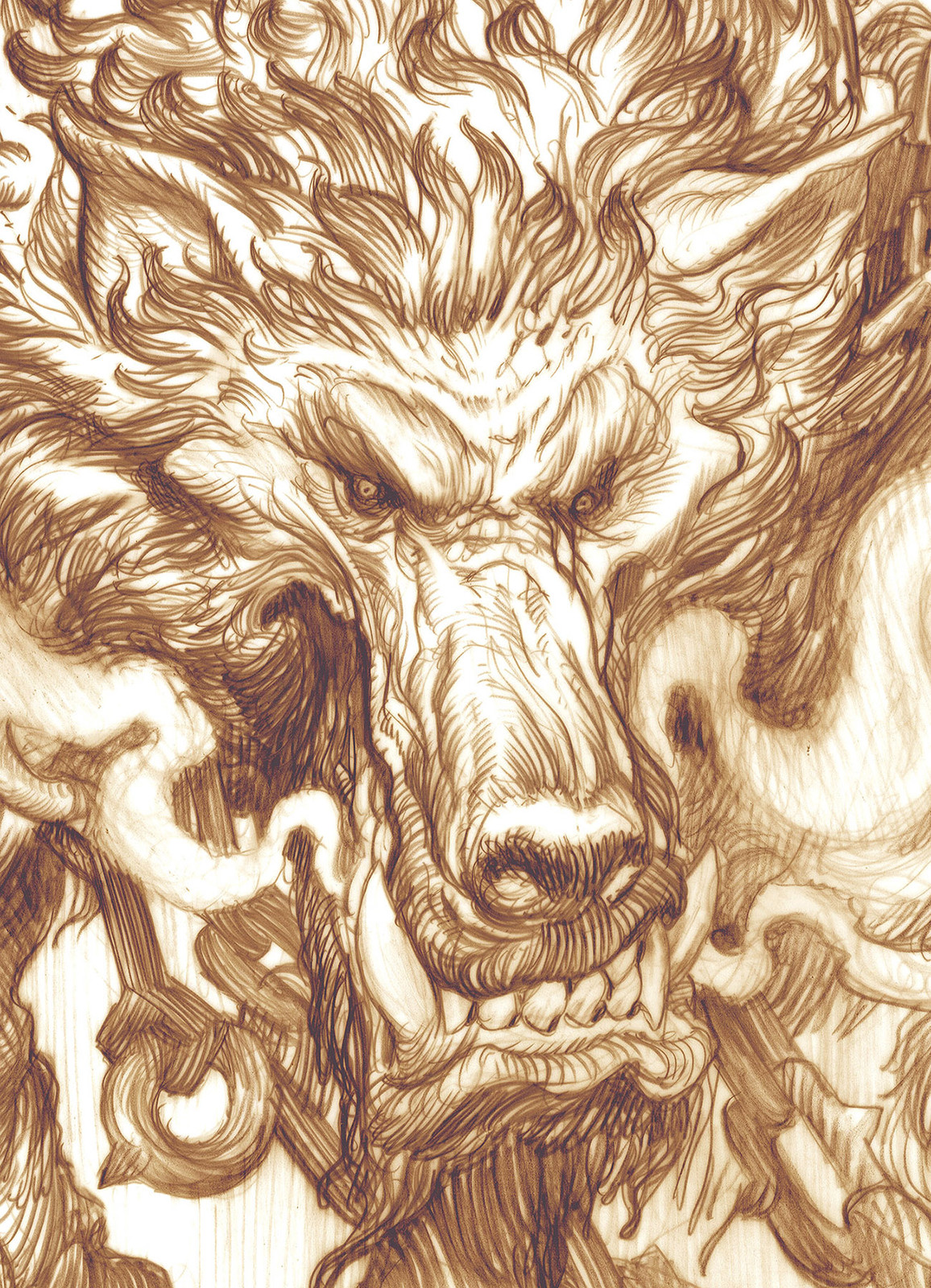 Character Design Drawing on vellum (detail)
