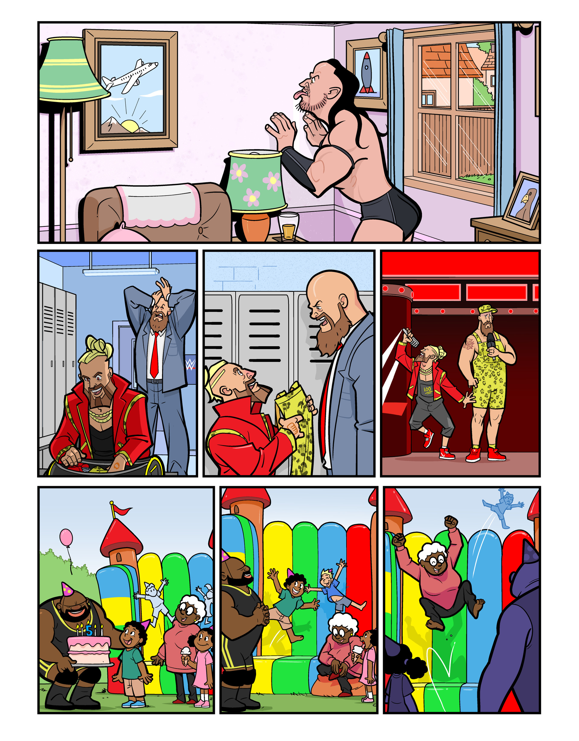WWE Superstars comic strips for WWE Kids Magazine #126