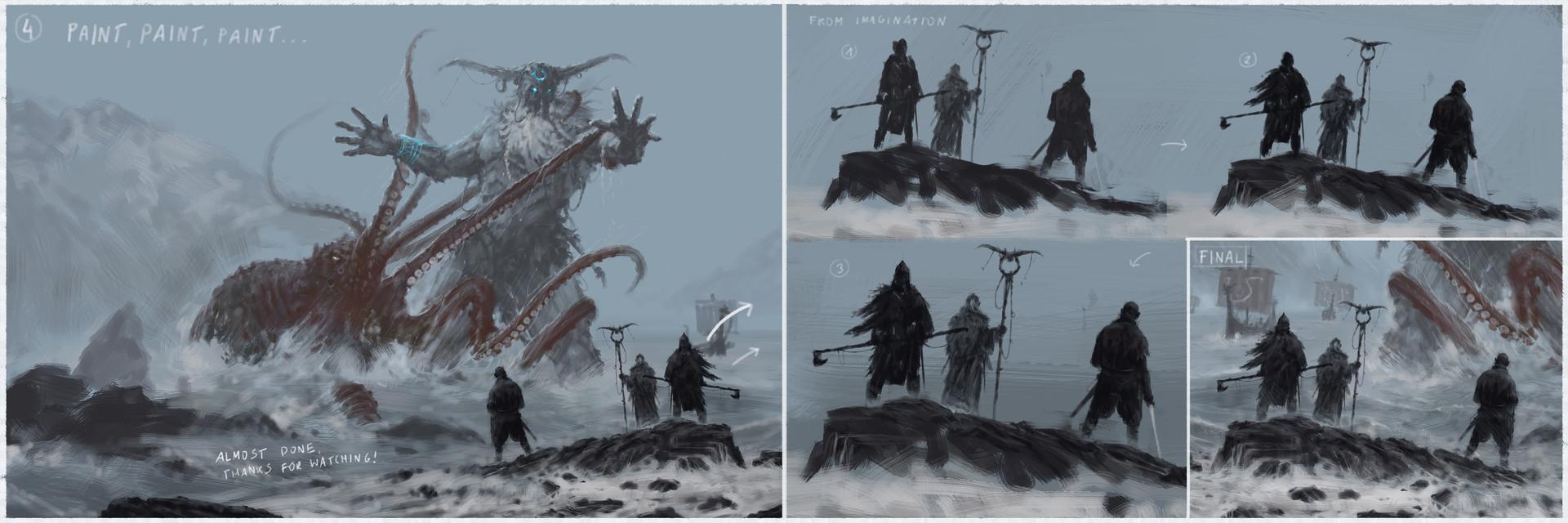 Jakub rozalski ymaar fighting kraken process03