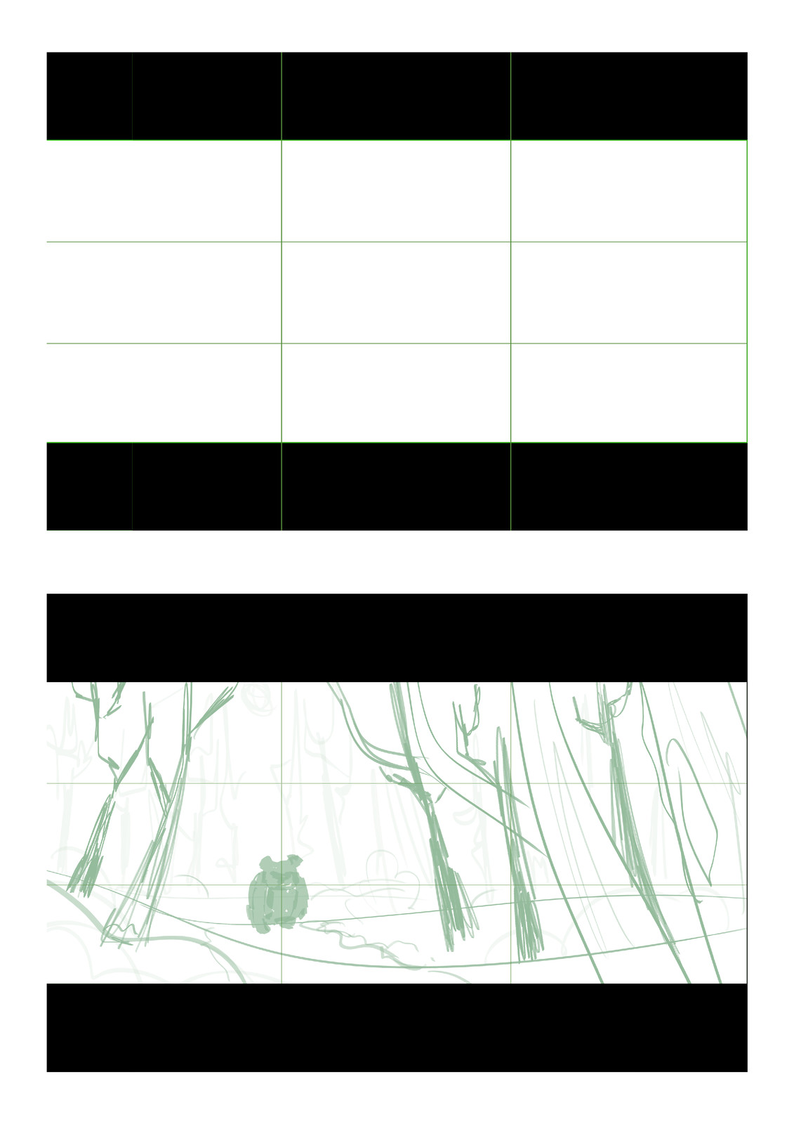 Setting the grid and sketching.