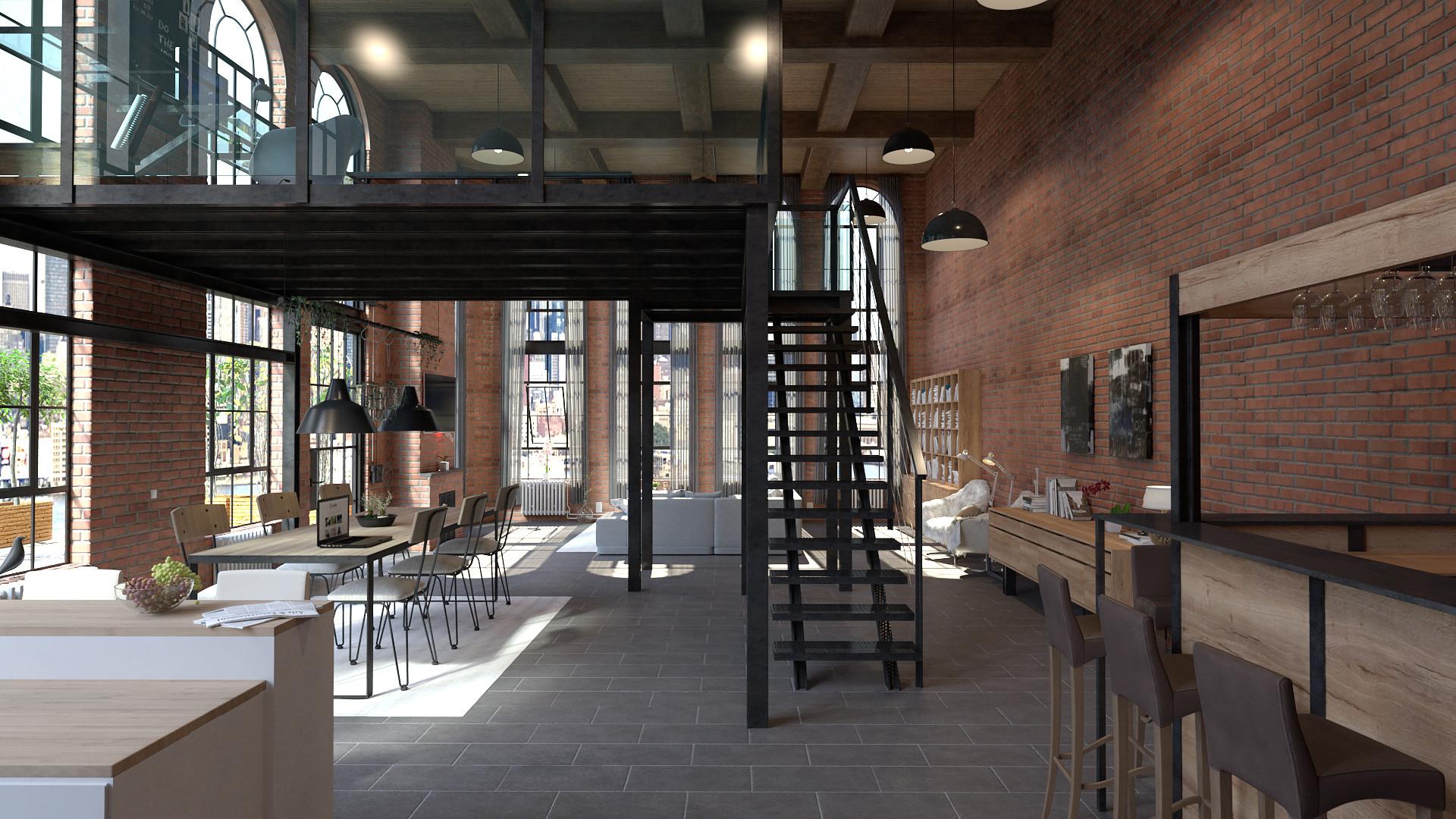 Artstation Modern Penthouse Apartment Manhattan New York Daniel Maron Petersen