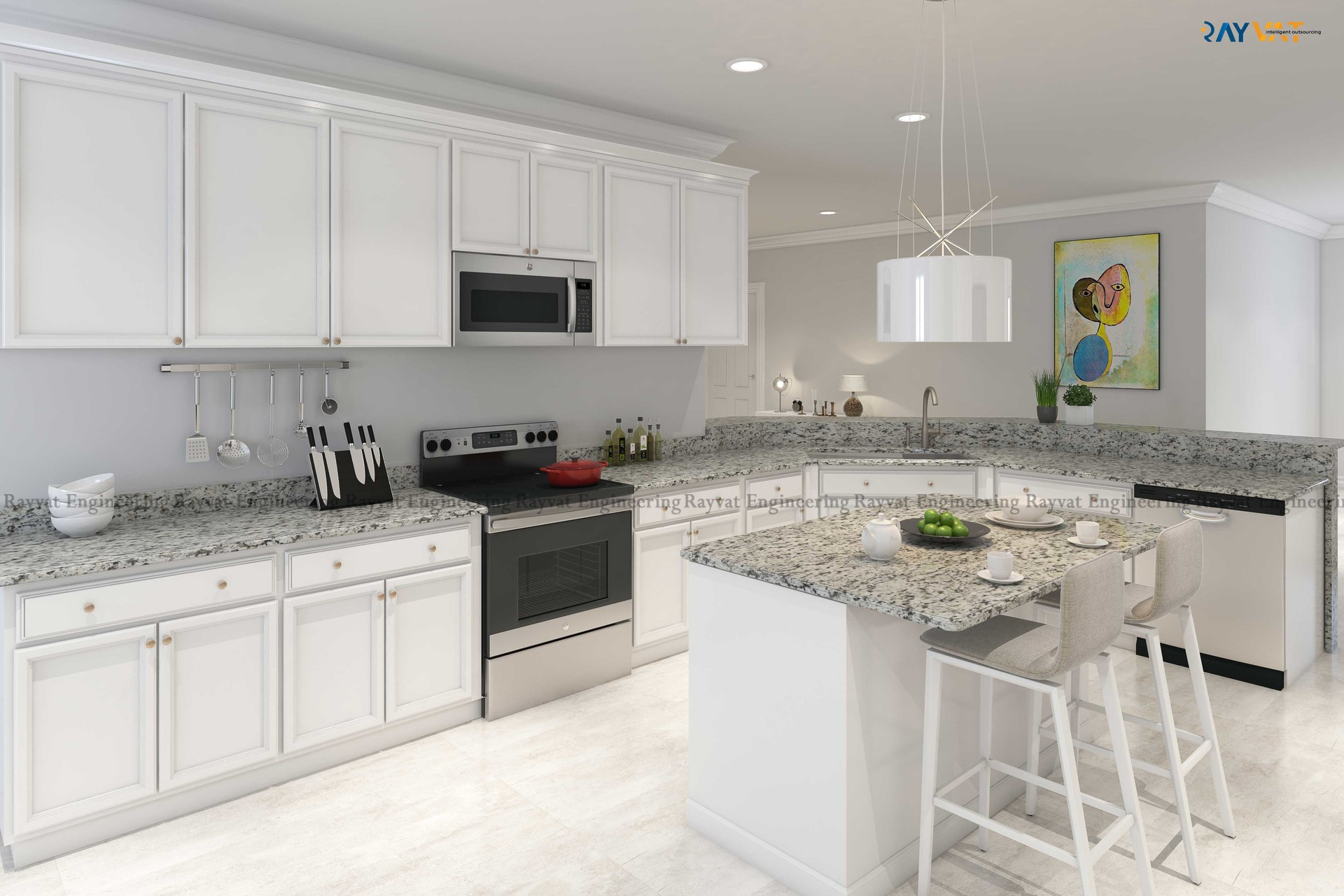 ArtStation - 3D Rendering of a Classic White Kitchen, Rayvat ...