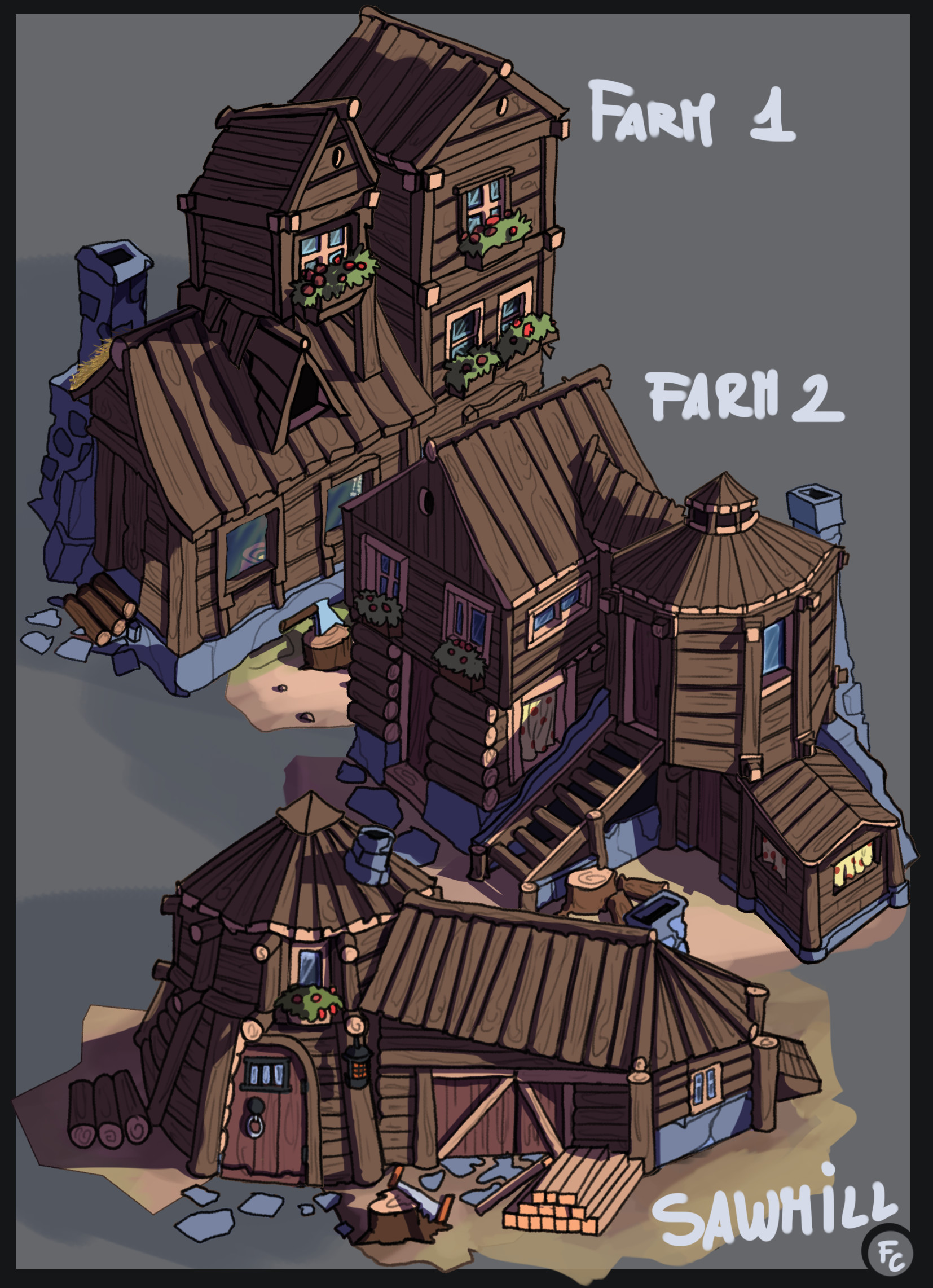 Farm 1 farm 2 and Sawmill