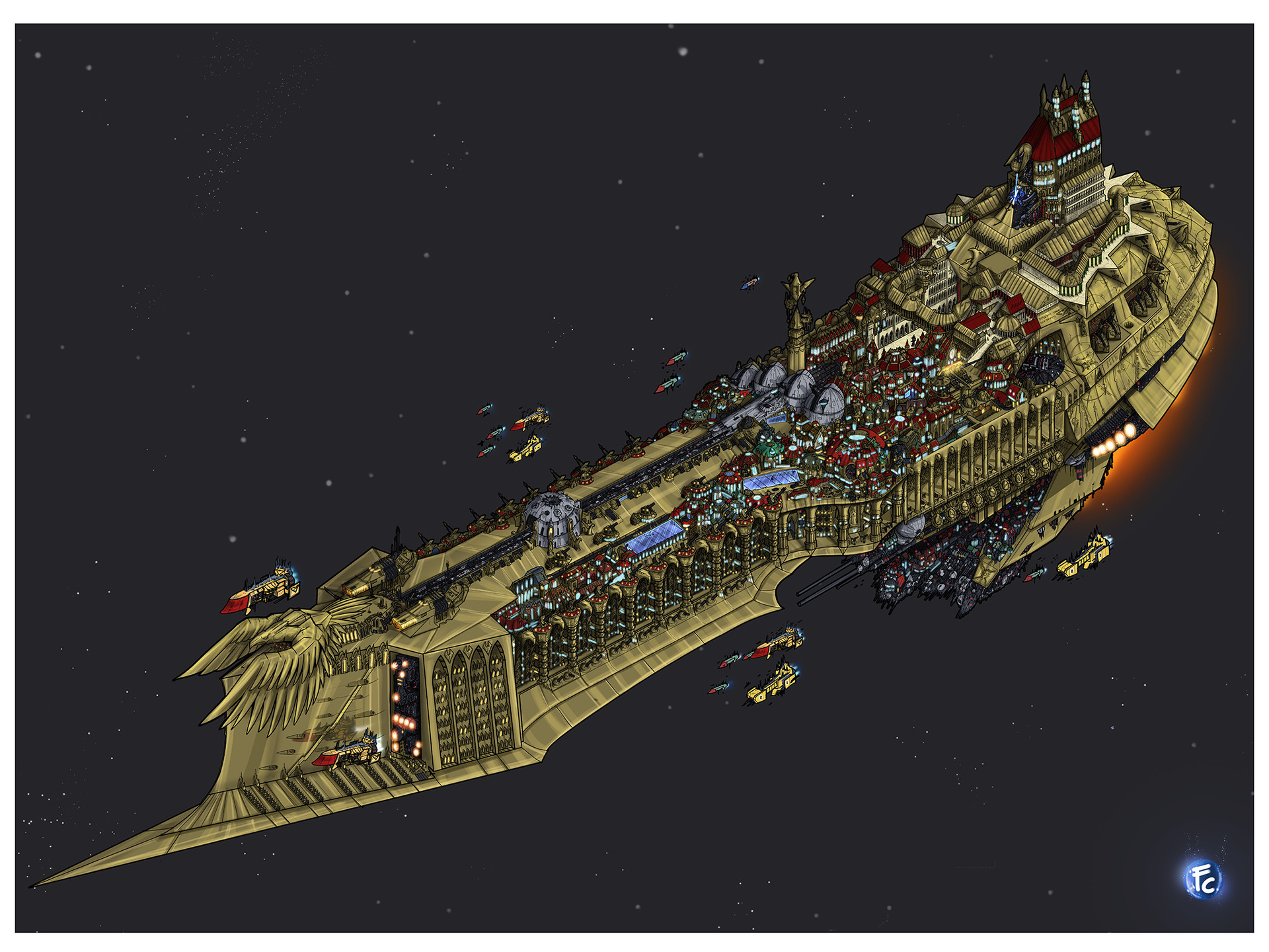 Warhammer 40k Void Ship Imperator Somnium original file 12000x16000 pixels