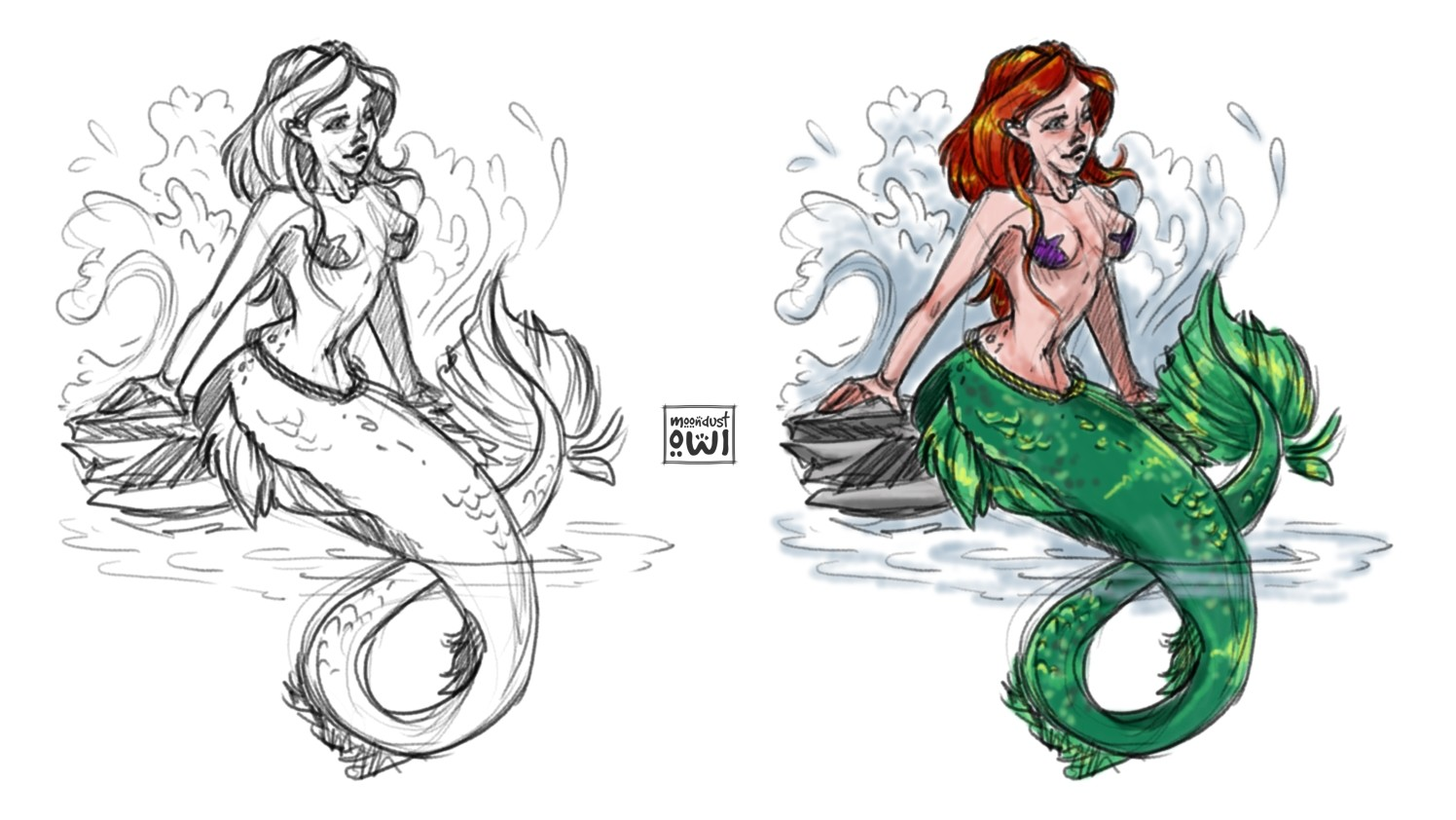 "Unlike the other sketches, this one is a fan art of ""The Little Mermaid"""