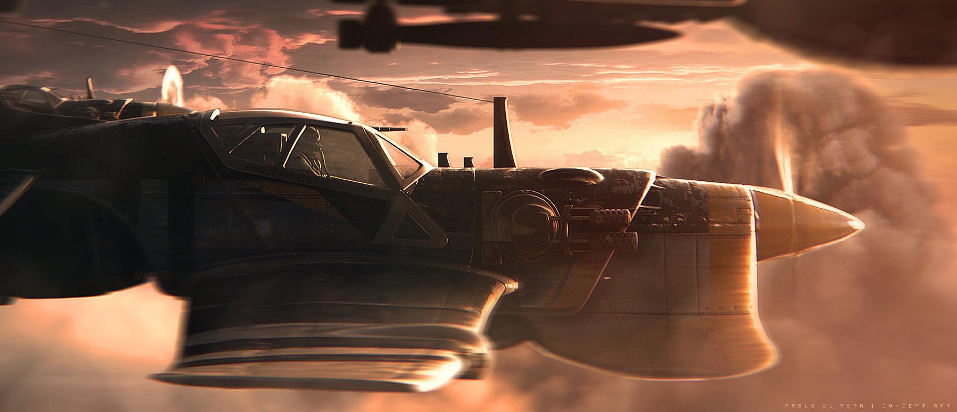 Pablo olivera helena pilot airplane concept art 04