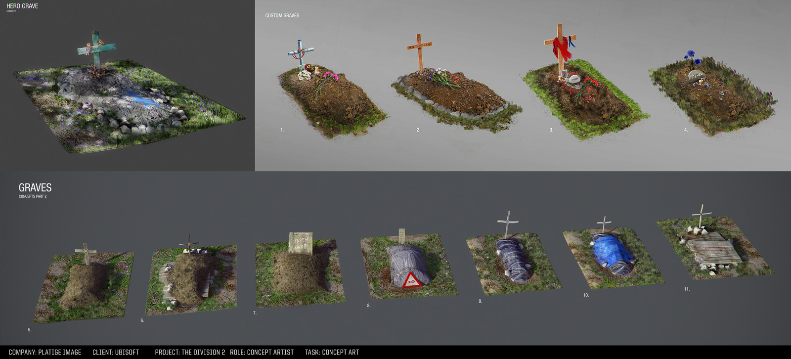 Graves in the park concepts.