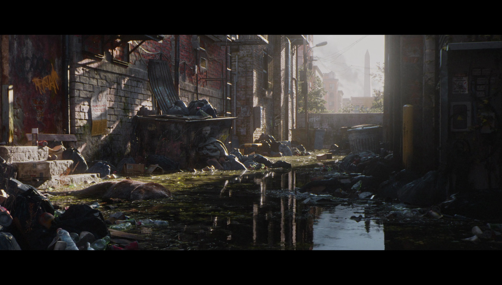 Back alley, screenshot from cinematic.